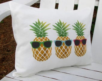 Pineapple Pillow, Travel Pillow, Pineapples in sunglasses, Beach Pillow, Pineapple, Throw Pillow, Pillow, Beach Pillow, Cabin Pillow