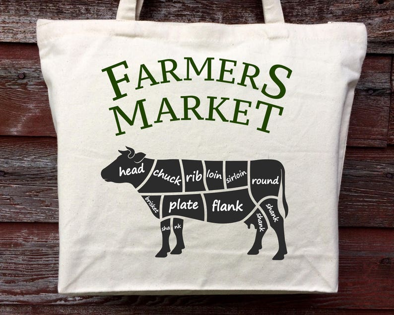 Farmers Market Meat Tote Cotton Canvas Tote Farmers Market Tote Shopping Tote Cow Beef Tote Cotton Tote Beef Cow Tote