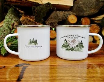 Adventuring Together Mug, Anniversary Gift, Camp Mug, Wedding Mug, Anniversary Mug, Mountain Mug, Personalized Coffee Mug