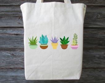 Succulent Tote, Cotton Canvas Tote, Succulent, Greenery Tote, Cactus Tote, Cactus, Cotton Tote, Market Tote, Shopping Tote