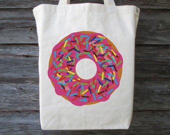 Donut Tote Bag, Donut Tote, Cotton Canvas Tote Bag, Recycled Cotton Canvas Tote, Shopping Tote, Market Tote, Donut with Sprinkles, Donut