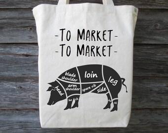 Farmers Market Tote, Cotton Canvas Tote, To Market To Market Tote, Farmers Market, Market Tote, Market Tote Bag, Shopping Tote, Cotton Tote