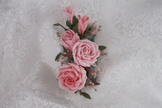 Millinery quality pink floral hair clip or accessory pin