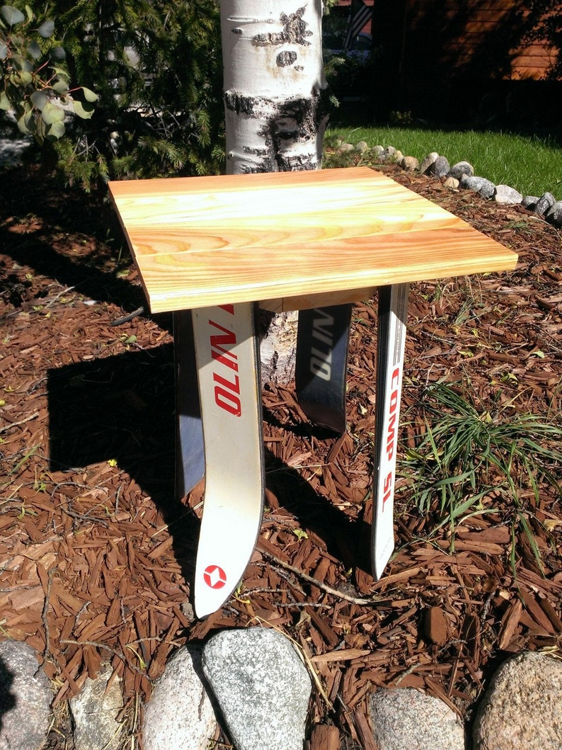 Recycled Ski Side Table / Nightstand image 0