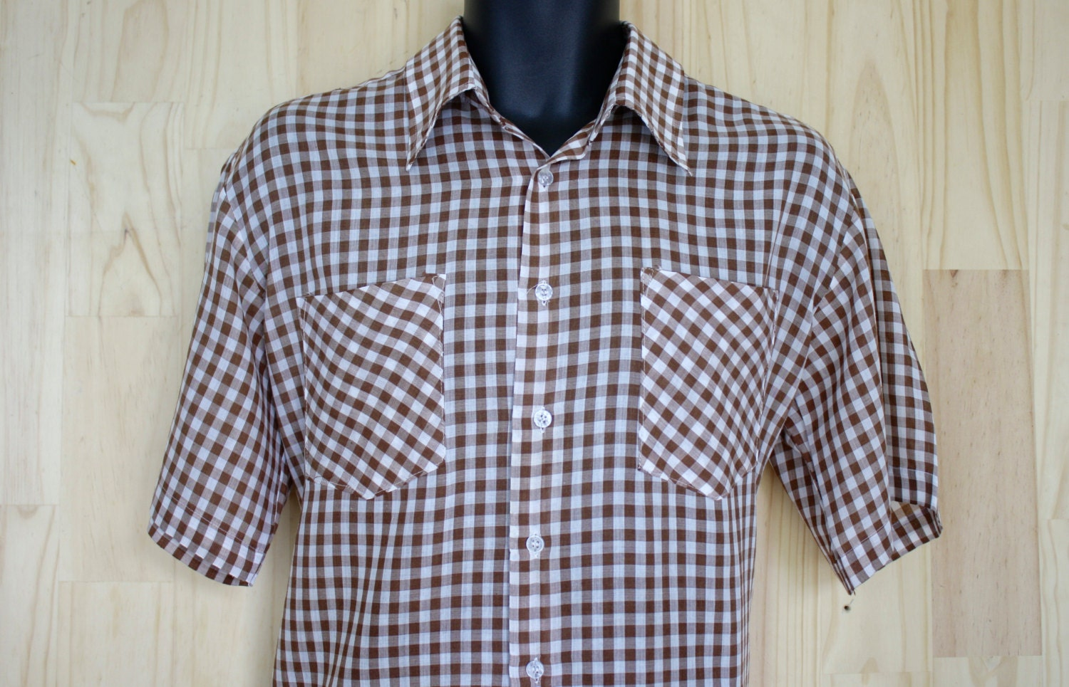 ea499b35161ed Men's Gingham Oxford Shirt/ Short Sleeve/Tropical Weight/Wedgefield/ Size L