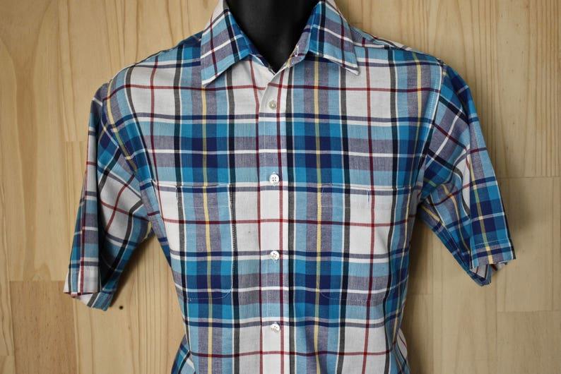 937f9f99c87e3 Men's Vintage Towncraft Ivy League Plaid Madras Oxford Shirt/ c. 1980s/  Short Sleeve Collegiate