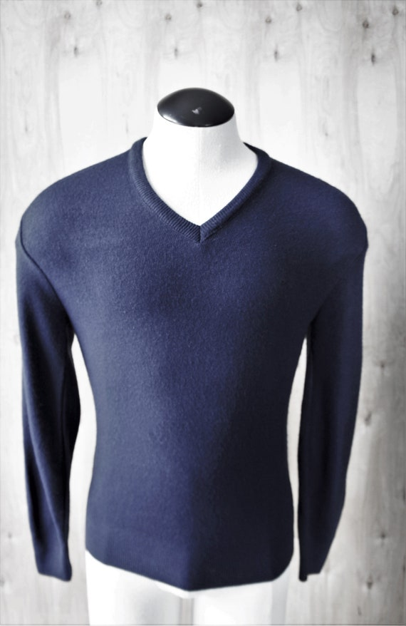 new styles best website purchase cheap Vintage Sweater/Pierre Cardin Orlon Cashmere Sweater/ c. 1990/ Navy Blue  Pullover V-Neck/ Size M