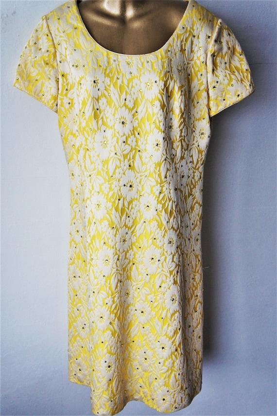 1960s Floral Brocade Dress/ Vintage Cocktail Dress