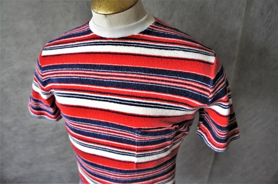 60s Terry Cloth Crew Neck Shirt/ Striped Pullover/