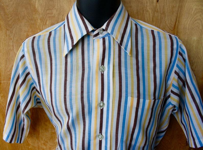 55b6ef1ddab69 Vintage Ivy Style Striped Shirt/Half Sleeve Cotton Oxford Shirt/