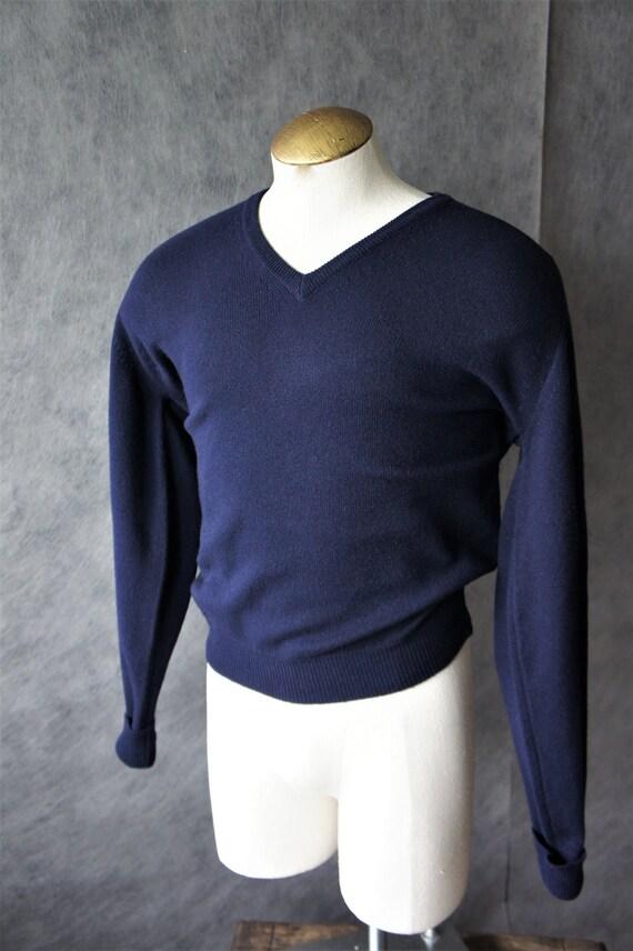 Scottish Cashmere Pullover Sweater/ Navy Blue/ Siz