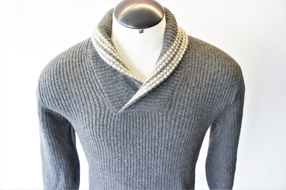 Mens' Vintage Shawl Collar Pullover Sweater/ c. 19