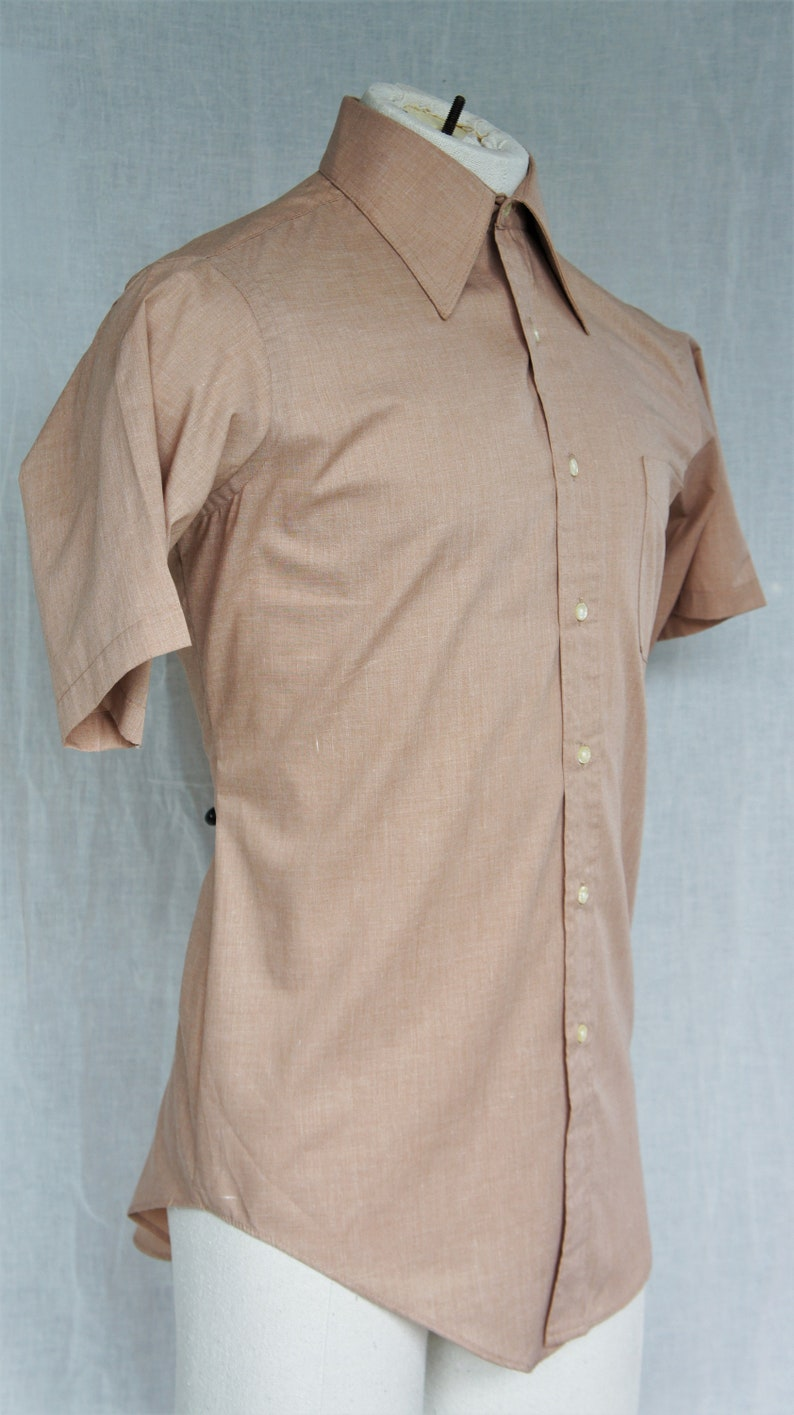 69dad9bdf486c Men's Vintage Shirt/ Van Heusen Ivy Style Short Sleeve Oxford Shirt Cotton  Shirt/ Latte Brown