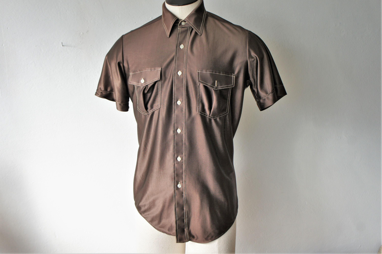 1970s Men's Shirt Styles – Vintage 70s Shirts for Guys Vintage Nylon Oxford Shirt Mens 1970s Short Sleeve Shirt $28.00 AT vintagedancer.com