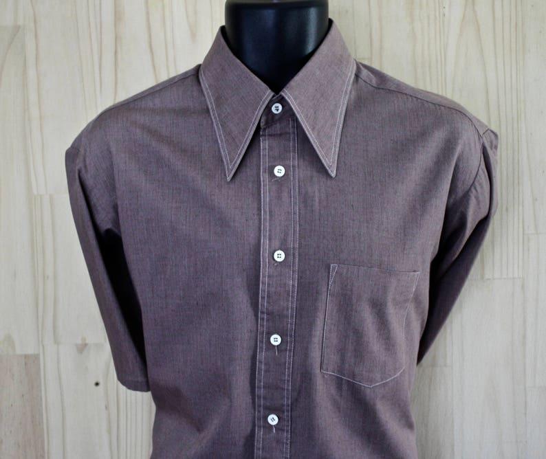 aead207126200 Vintage Oxford Dress Shirt/Brown Cotton Blend/1960s/ Size L/Poly-Cotton  Chambray