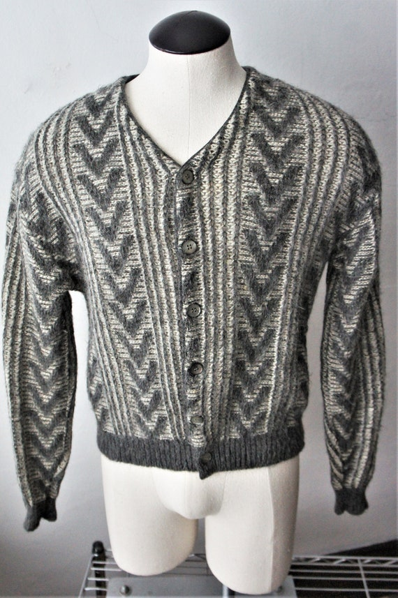 Vintage Mohair Cardigan/ Unisex Wool Sweater/ 1950