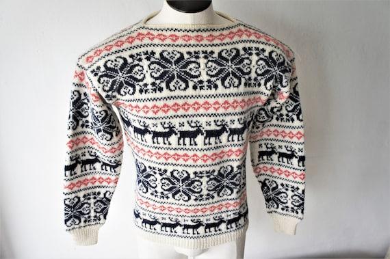 Vintage Maurtua Ski Sweater/ Hand Knitted in Norwa