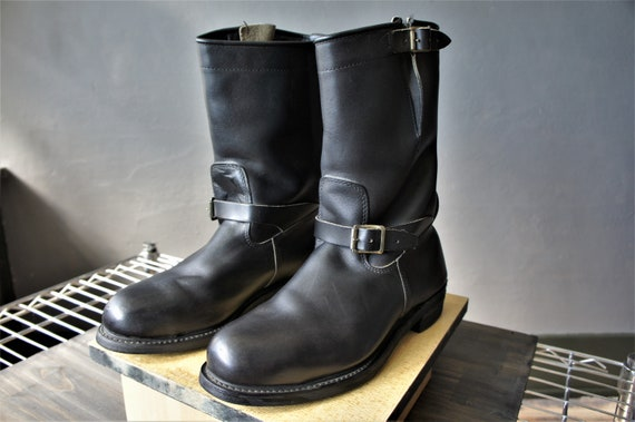 Leather Engineer Boots/ Black Motorcycle Boots/ Si