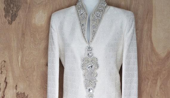 Vintage Dress Coat/ Brocade Gemstone Coat Dress/Ne