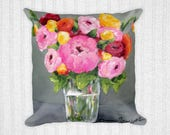 Art Throw Pillow, 18x18 Square, Perfect Harmony Art by Sharon Sudduth, Pink Floral, Gray, Home Decor, Shabby Chic