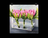Floral Art Print of Acrylic Painting, Pink Proteas in Vase, quot Pass Me Not quot by Artist Sharon Sudduth, 12x12 inch