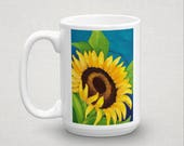 Sunflower Art Mug by artist Sharon Sudduth quot Make A Joyful Noise quot 15 oz, Tea, Coffee, Bible Verse, Psalm 95 1, Yellow Flower