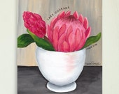 Take Courage - Protea Flower in White Bowl, Floral Art Print by Sharon Sudduth 8x10 inch, Psalm 27, Bible Verse