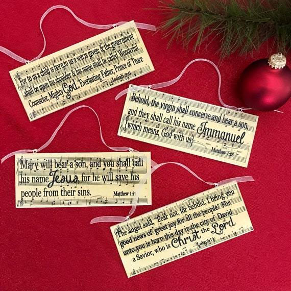 Birth Of Christ Scripture Wood Plaque Ornaments Set Of 4 Etsy