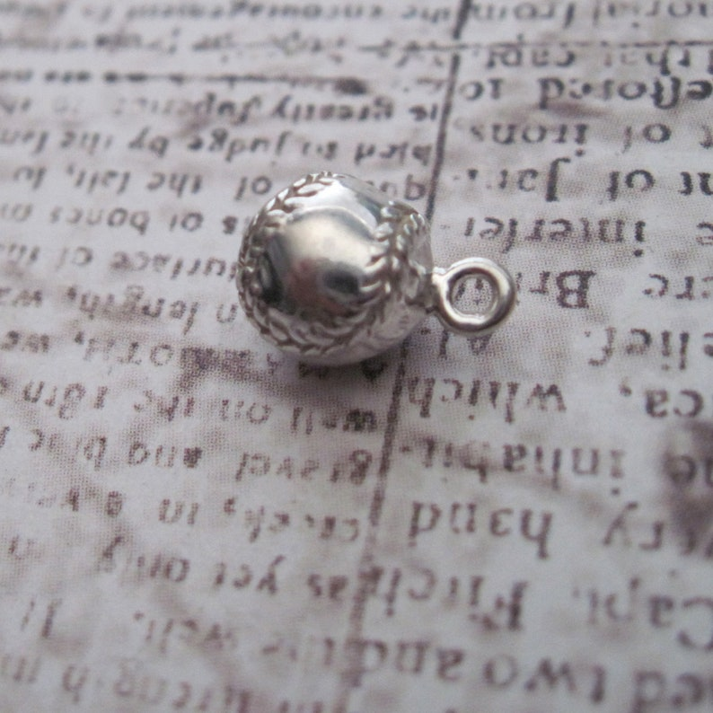 Beautiful Sterling silver 925 sterling Sterling Silver 3D Antiqued Baseball Charm