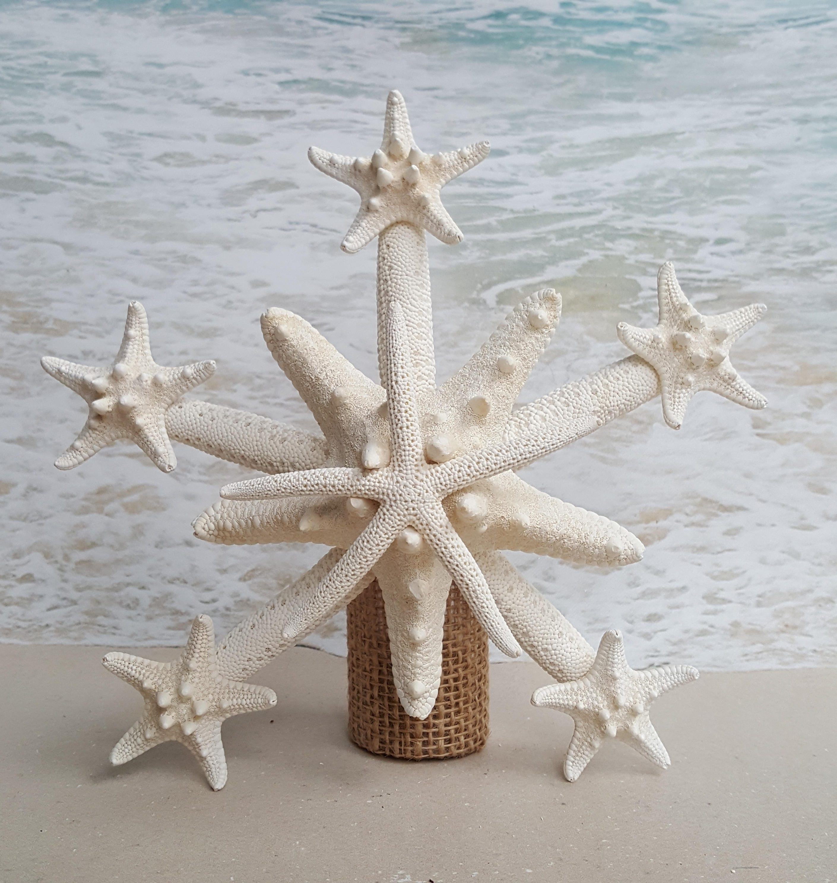 Beach Christmas Tree Topper: Deluxe Starfish Tree Topper Natural Gold Or Silver Glitter