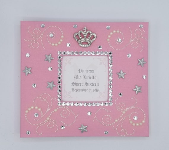 Etc- Queen Princess Bling Rhinestone Crown Guestbook 16 15 40th 50th 60th Quinceanera Birthday Wedding Sweet 16 Royal Guest Book Set