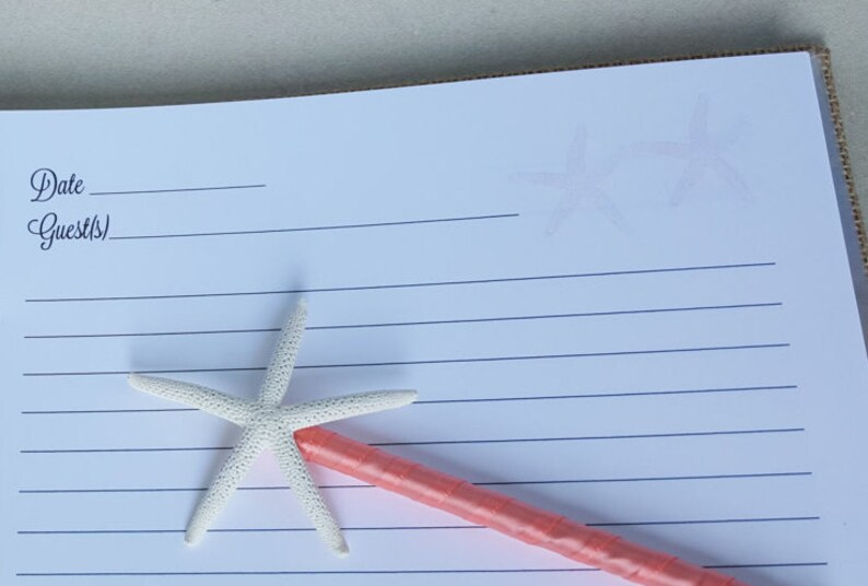 River House Guest Book Set Pen Included Coastal Sign In Book Starfish Sand Beach Coast Cottage