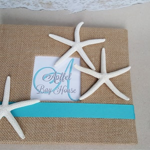 Pen Inlcuded Coastal Sign In Book Starfish Sand Surf Coast Cottage Home Beach House Guest Book Set Customized Monogram and Welcome Page