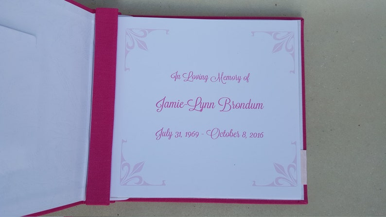 Choice of Colors Personalized w name /& dates Celebration of Life Guest Book Funeral Guestbook Wake Sign In Record Book Memorial Church