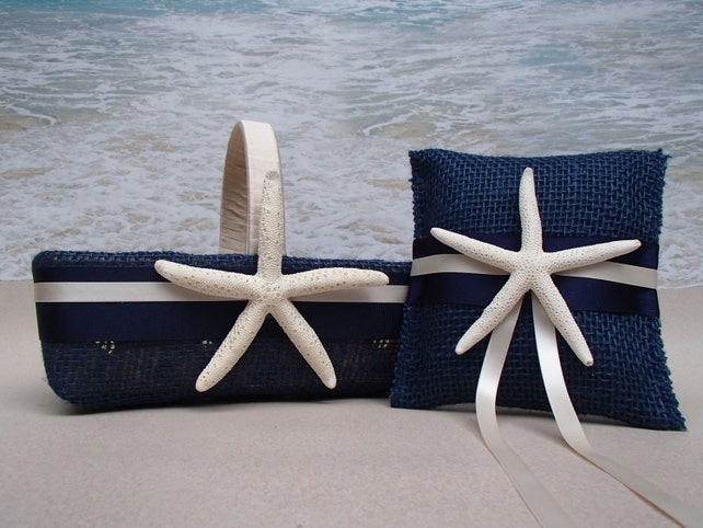 Blue Starfish Basket & Pillow - Nautical Wedding - Navy Blue Flower Girl Ring Bearer Coastal  Burlap Shabby Chic