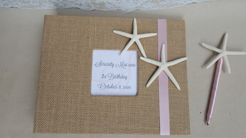 Wedding, Shower, Birthday, Anniversary, Etc Starfish Beach Guest Book Burlap Beach Nautical Coastal Guestbook Sign Party Book Album