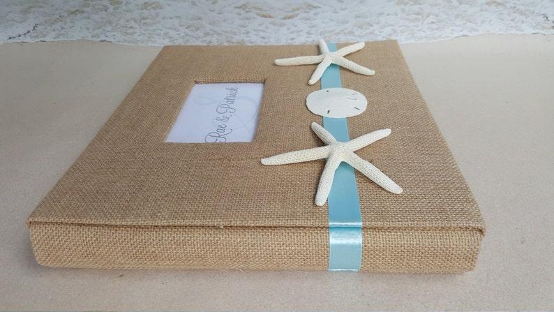 Wedding Guest Book Scrap Custom Monogram 12x12-Choice of Color Starfish Scrapbook or Photo Album Burlap with Sand Dollar /& Starfish