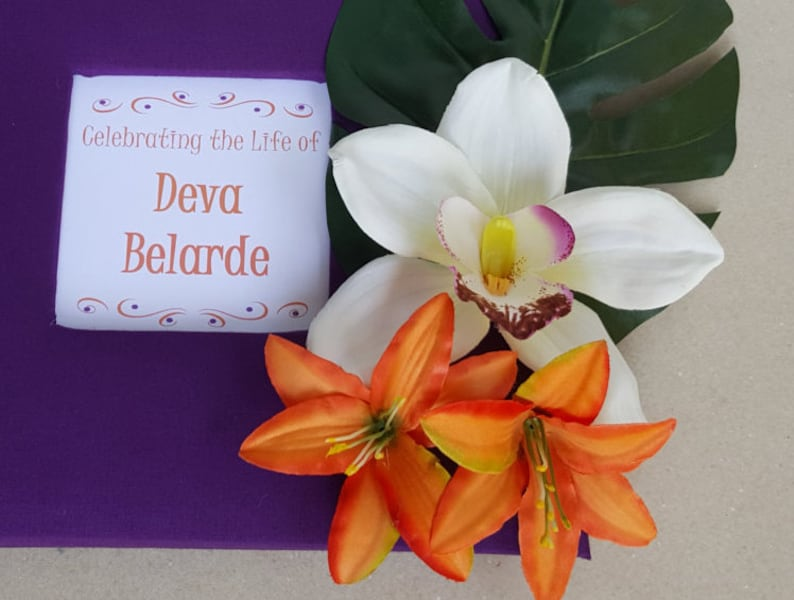 Sign Beach Guestbook Pen Flower Celebration of Life Hawaiian Memorial Tropical Funeral Guest Book Set Choice of Colors-Custom Cover