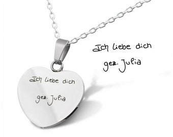 Handwriting Engraving Heart Pendant with Chain Personalized with Own Handwriting in Silver