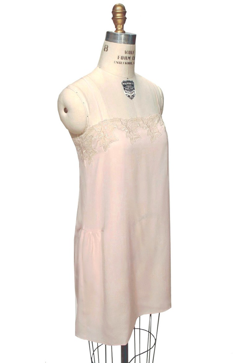 1920s Style Underwear, Lingerie, Nightgowns, Pajamas 1920s Silk Hand-Cut Vintage Lace Flapper Charleston SLIP by The Deco Haus $84.95 AT vintagedancer.com