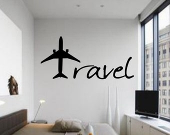 Travel Wall Decal - Travel with plane decal - Travel with Plane - Travel Decal & Affordable Vinyl Wall Decals by DecalsAffordable on Etsy