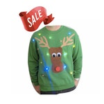 Ugly Christmas Sweater - Lights Up! - Reindeer -  LED Lights - Light Up Christmas Sweater - SALE!!  10 OFF!!  _____**Fast Shipping**_____
