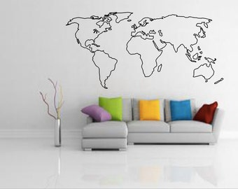 Affordable vinyl wall decals by decalsaffordable on etsy world map outline decal large world map wall decal wall art home decor living room bedroom office gift idea gumiabroncs Image collections
