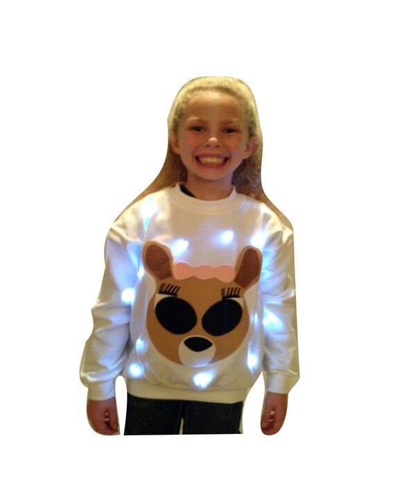 Christmas Sweaters Cute.Girl S Light Up Ugly Christmas Sweater Cute Reindeer Also Available In Hoodie Fast Shipping