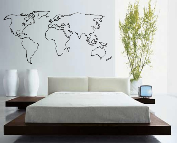 World map outline decal large world map wall decal wall etsy world map outline decal large world map wall decal wall art home decor living room bedroom office gift idea gumiabroncs Choice Image