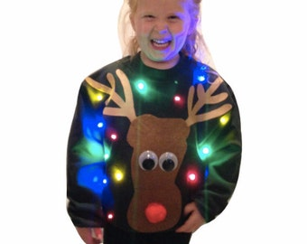 KID'S Ugly CHRISTMAS SWEATER - Reindeer!!!    Lights Up!!!!    _____**Fast Shipping**_____