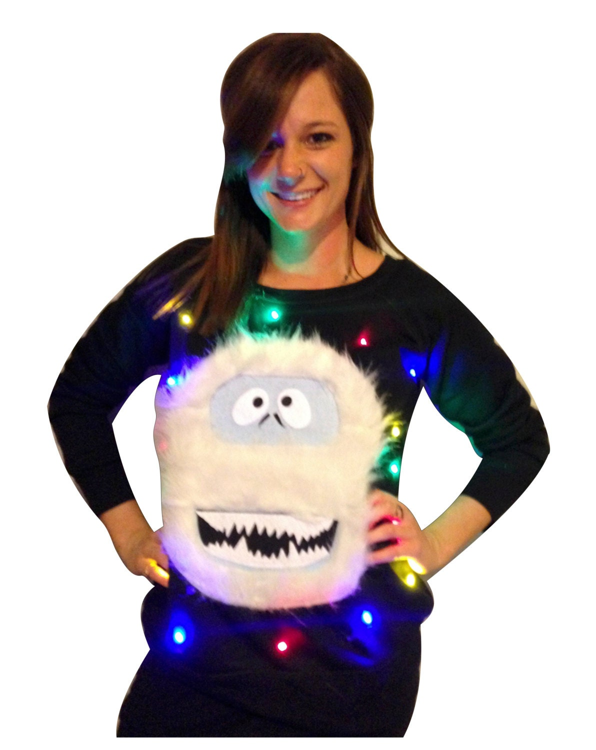 fef45ce3ce7 Women's UGLY CHRISTMAS SWEATER - Abominable Snowman! - Light Up - Swoop  Neck / Off The Shoulder _____**Fast Shipping**_____