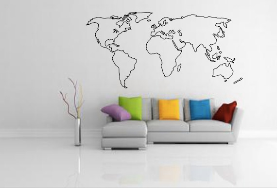 World map outline decal large world map wall decal wall etsy image 0 gumiabroncs Choice Image