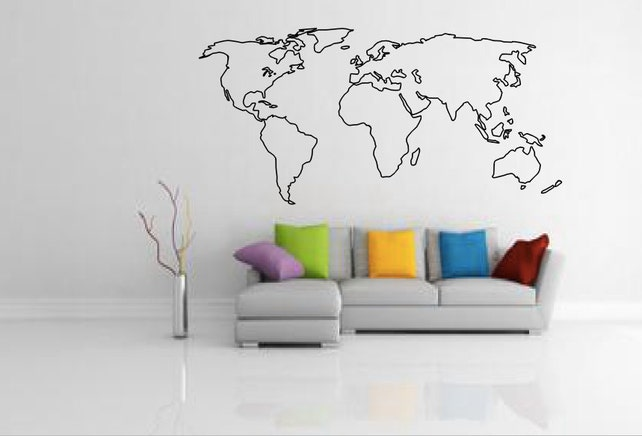 World map outline decal large world map wall decal wall etsy image 0 gumiabroncs Gallery