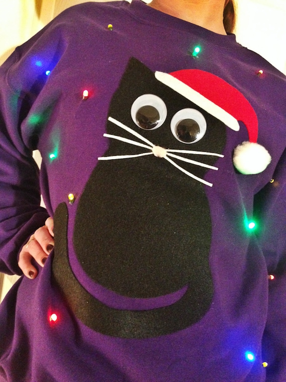 Light Up Ugly Christmas Sweater Christmas Cat Also Etsy